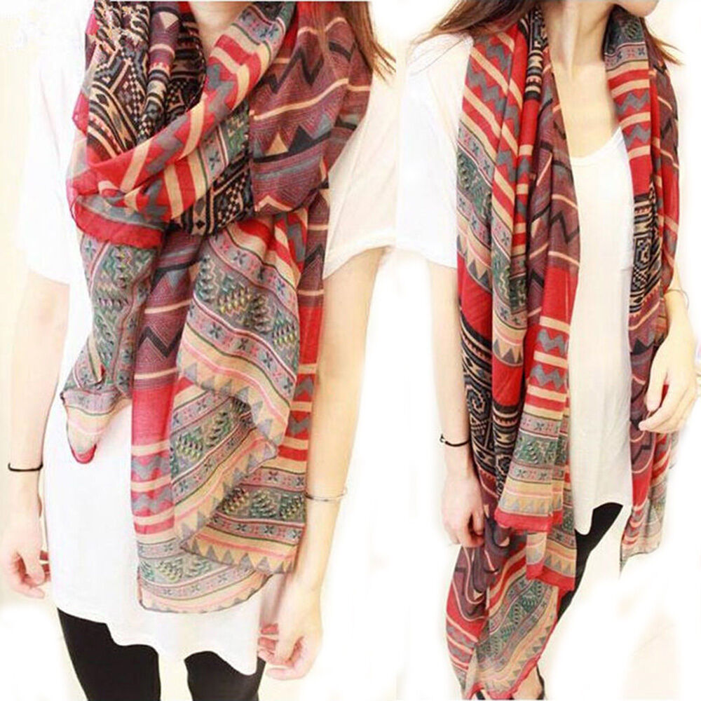 Fashion Women Long Soft Cotton Voile Print Scarves Shawl Wrap Scarf Accessories Ebay