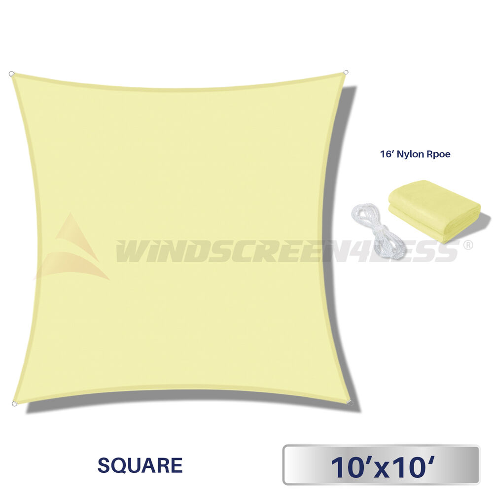 Sun Shade Sail 10 X 10 Waterproof Fabric Outdoor Canopy