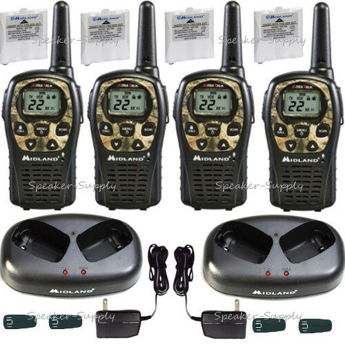 Midland Walkie Talkie Two Way Radio 4 Pack Camo 24 Mile Hunting LXT535VP3 x2 4601450 | eBay