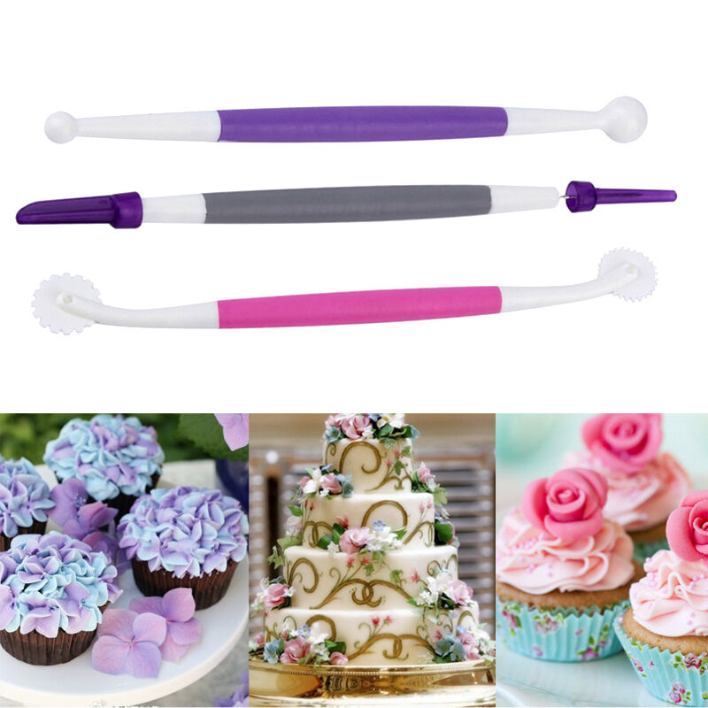 Cake Decorating Modelling Icing : 3 Pcs Fondant Cake Decorating Sugarcraft Paste Flower ...
