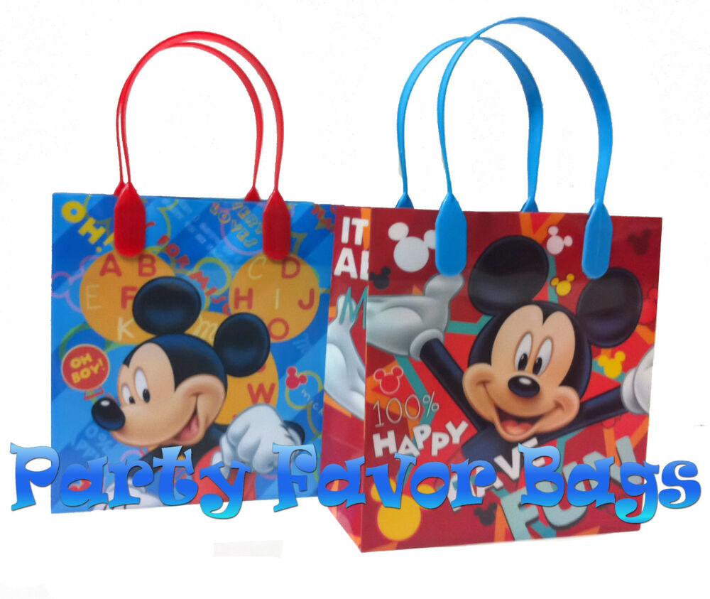 24 pc mickey mouse party favor bags candy treat birthday. Black Bedroom Furniture Sets. Home Design Ideas
