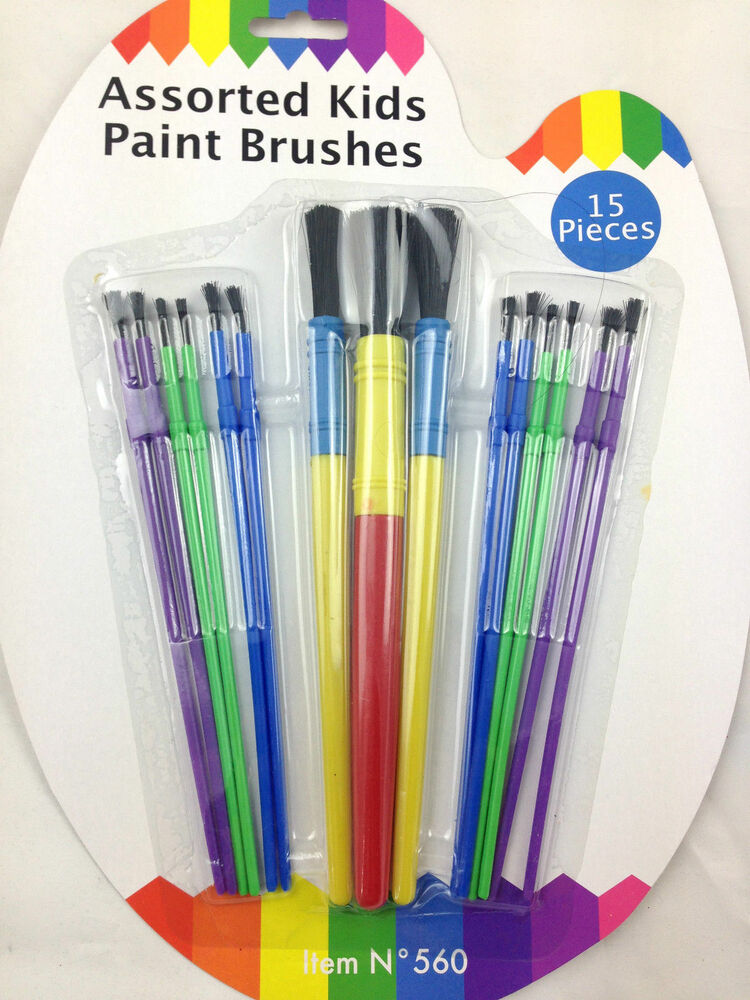 15 assorted plastic paint brushes for kids children art for Arts and craft paint