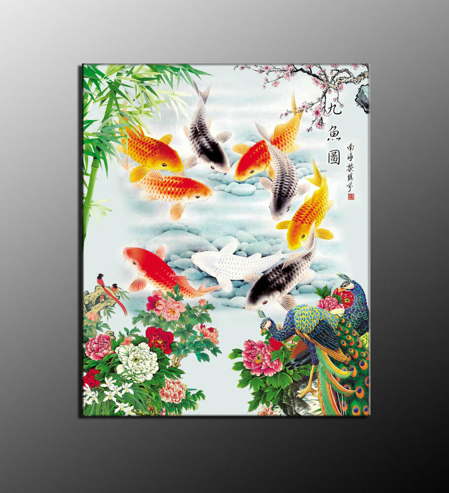 Art canvas wall decor hd print oil painting feng shui fish for Koi canvas art
