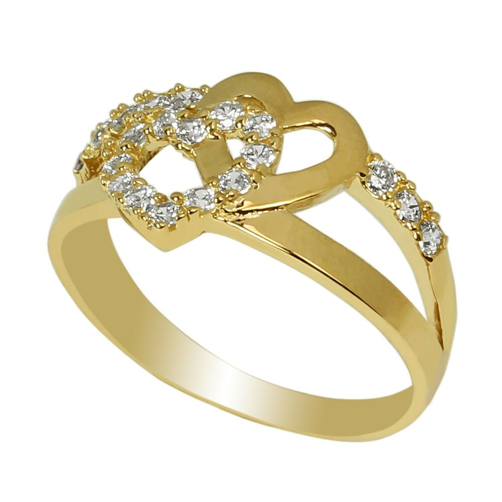 Ladies 10K Yellow Gold Solid Ring Band Embedded with CZ ...
