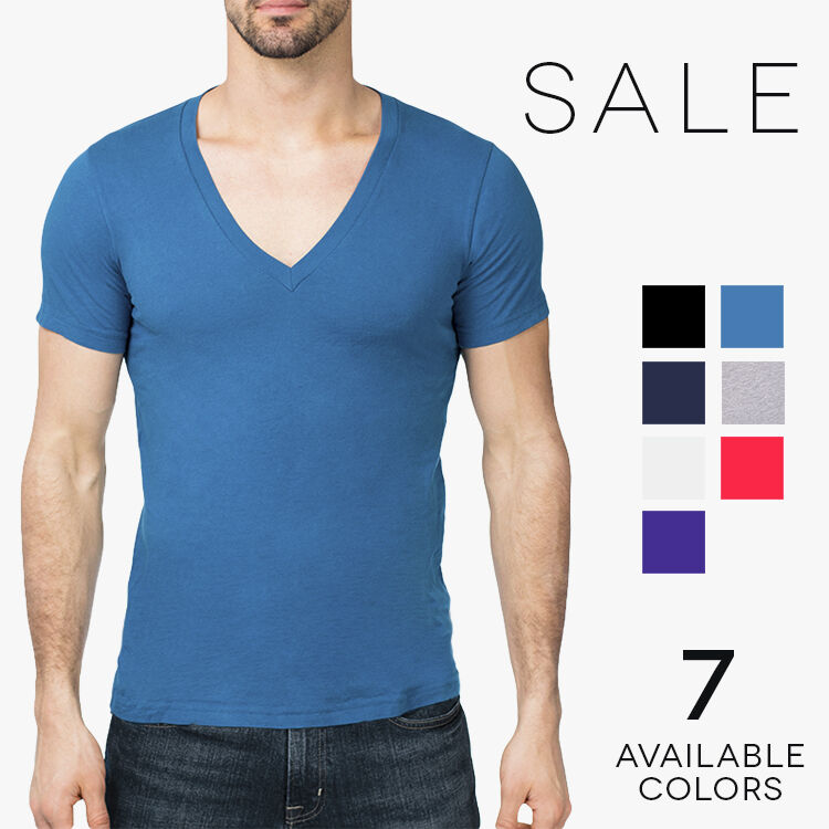 Bella Canvas Men 39 S Deep V Neck T Shirt Basic Plain