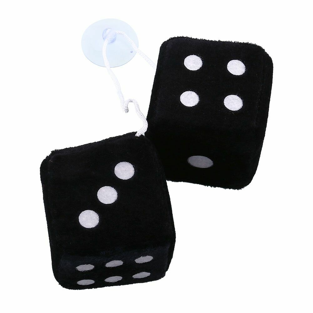 Pair black fuzzy dice dots rear rearview mirror hangers for Mirror hangers