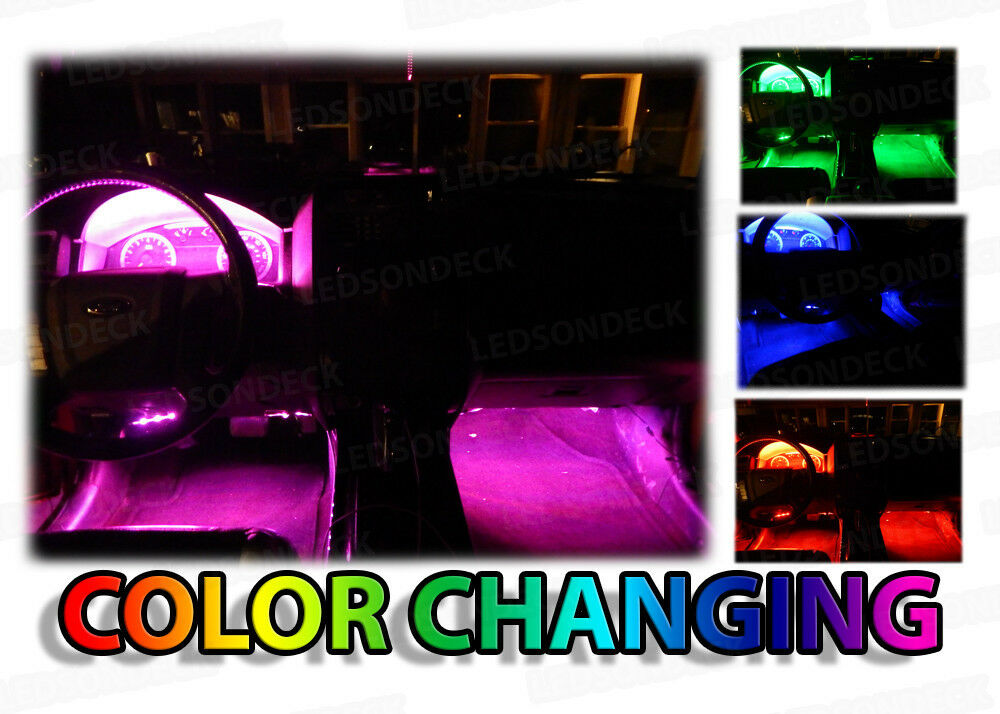 4x color changing car interior under dash floor decorative led neon lights strip ebay. Black Bedroom Furniture Sets. Home Design Ideas