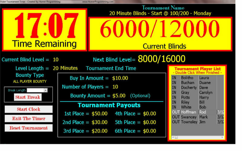 free texas holdem tournament timer