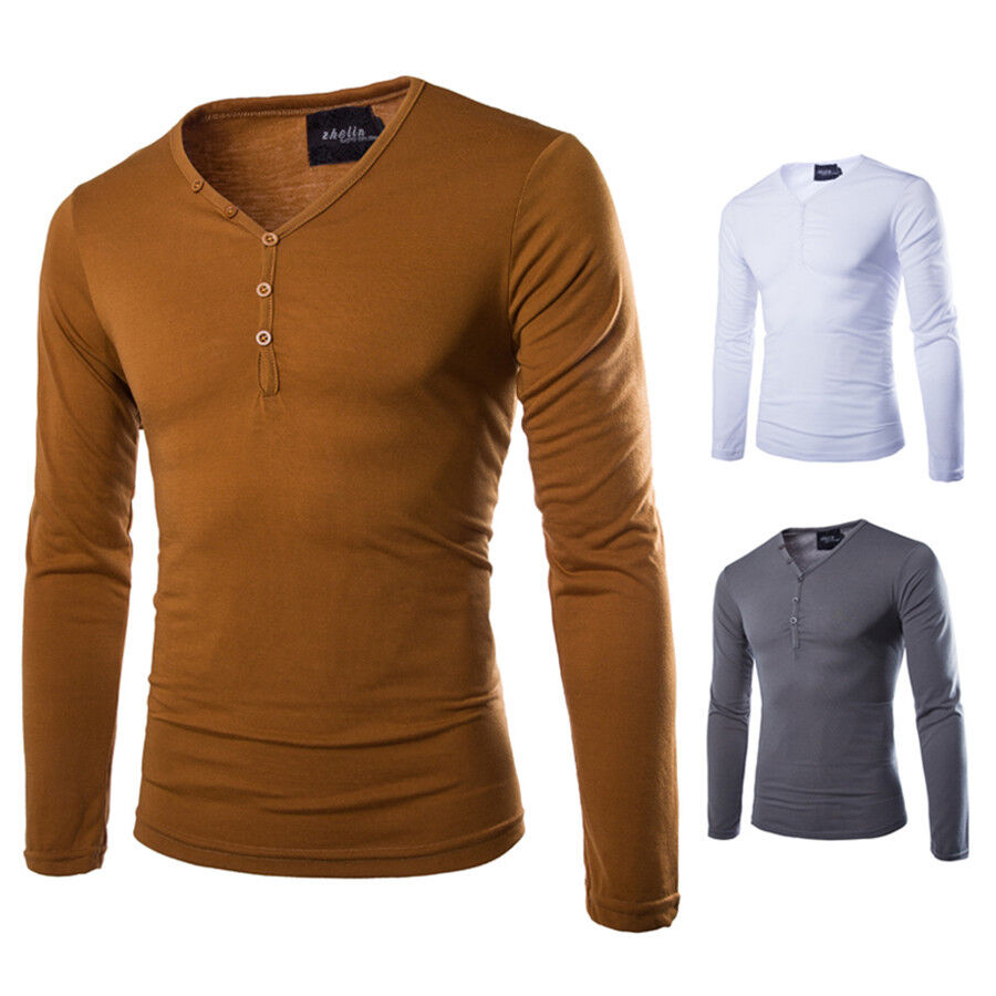 Men 39 s slim fit sleeve long button v neck tee shirt solid for Mens casual tee shirts
