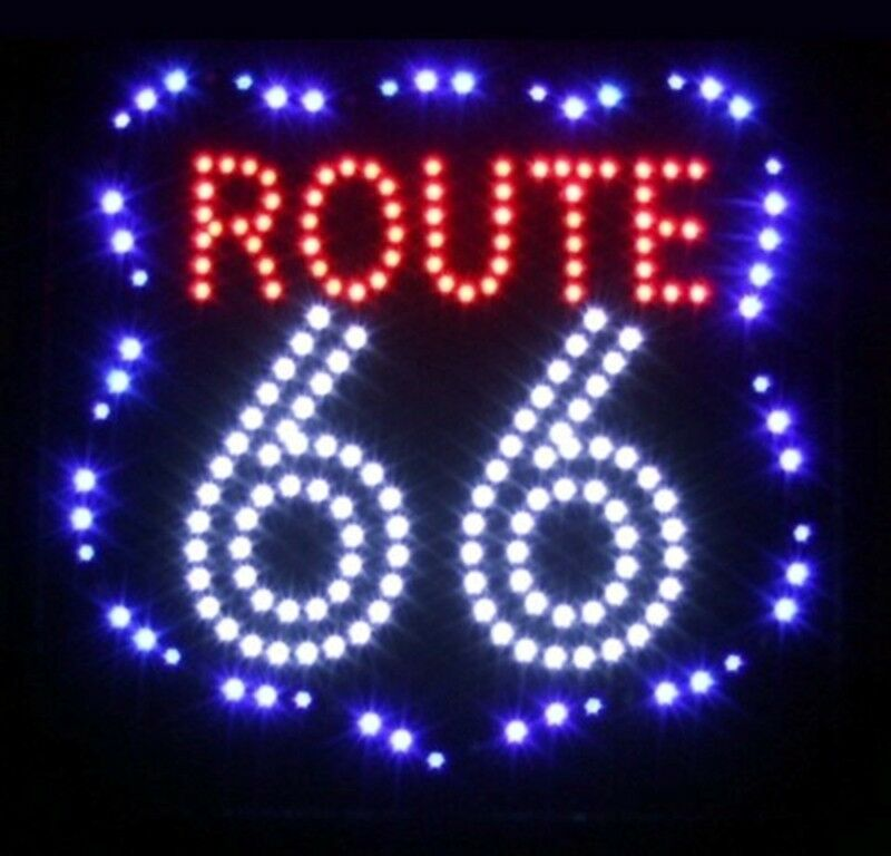 route 66 led schild leuchte xxl leuchtreklame reklame leuchtschild werbung ebay. Black Bedroom Furniture Sets. Home Design Ideas