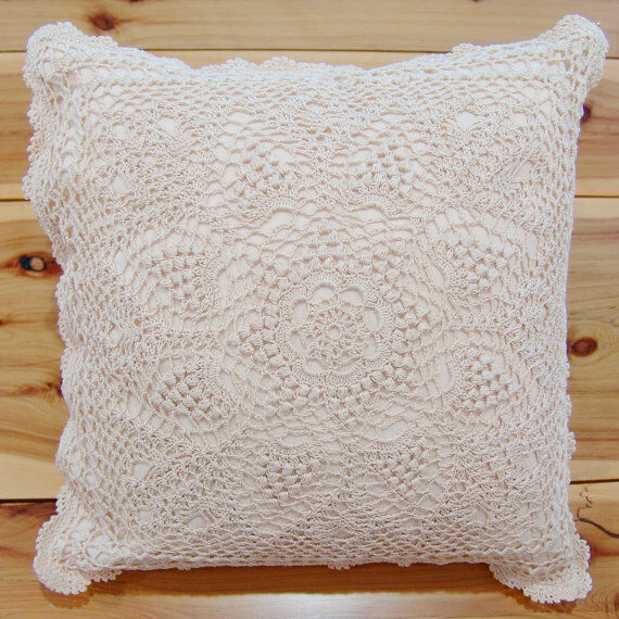 Ivory Lace Throw Pillow : Hand Crochet Lace Cushion Cover Throw Pillow Cover Hand Made Pure Cotton Ivory eBay