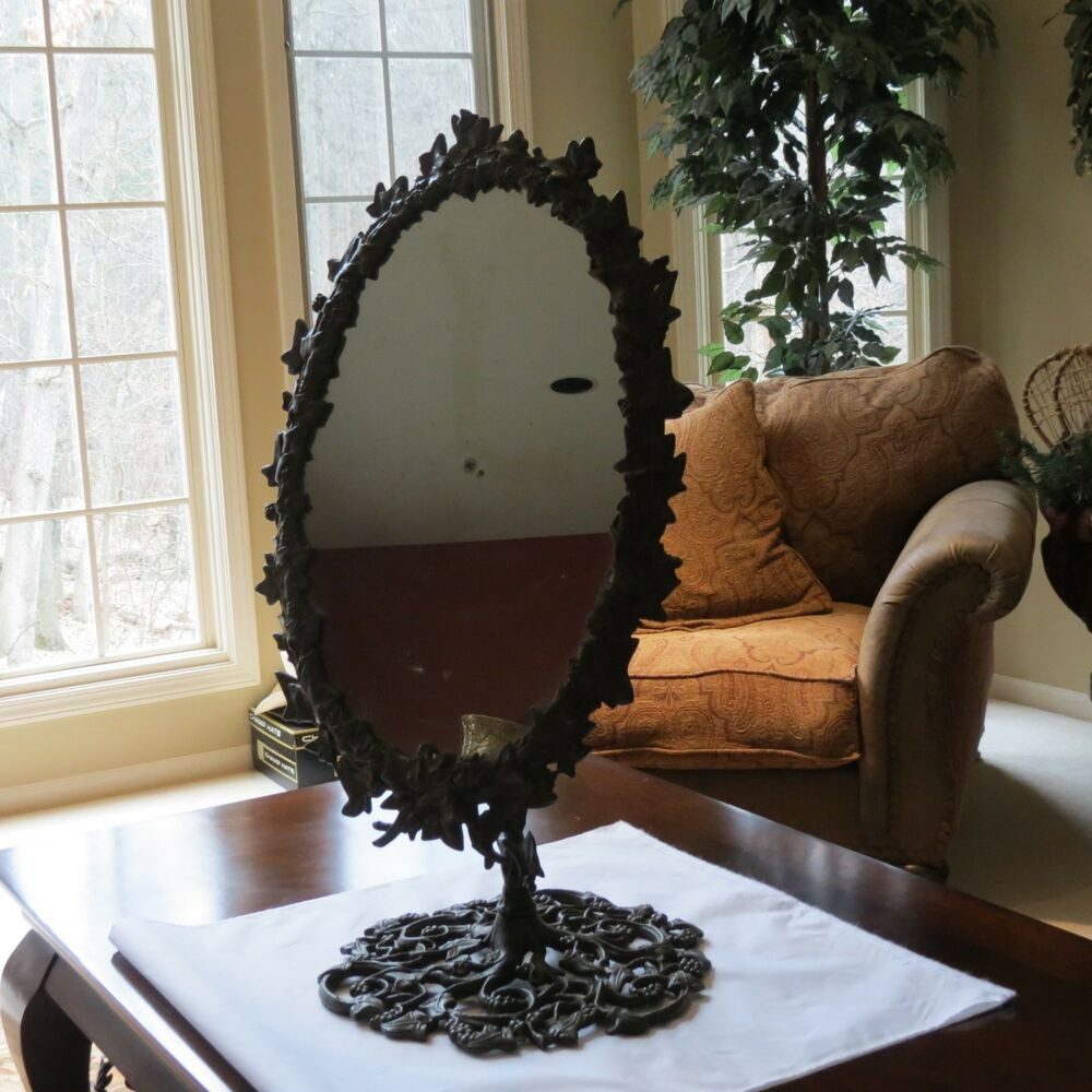 Antique Cast Iron Dressing Display Mirror On Stand