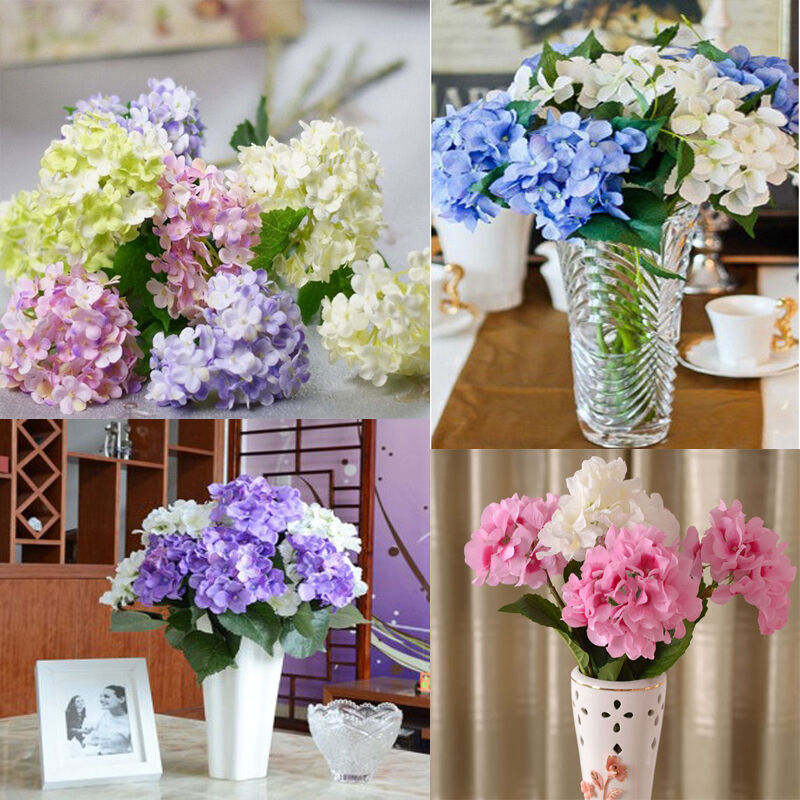 Artificial hydrangea bouquet silk flowers leaf wedding for Artificial flowers decoration for home