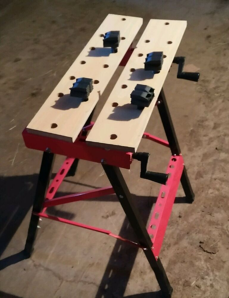 009 Folding Portable Work Stand Bench Red Saw Horse Clamp