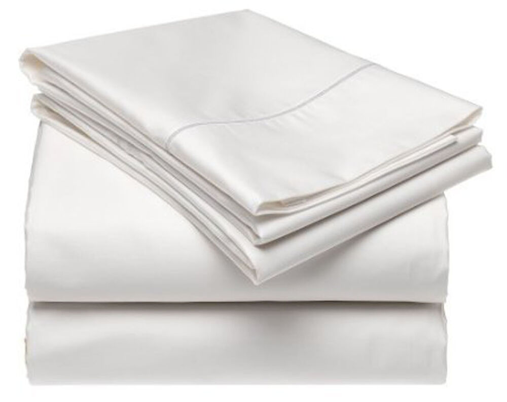 queen white 500tc 100 cotton 4pc bed sheet set flat and fitted sheets ebay. Black Bedroom Furniture Sets. Home Design Ideas