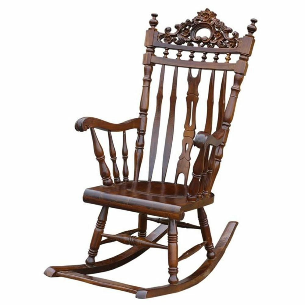 Solid Mahogany Wood Rocking Chair Hand Crafted Antique Reproduction ...