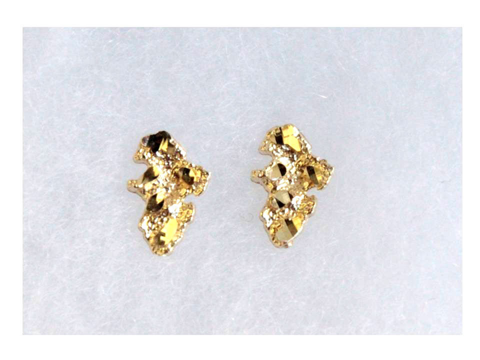 10k real gold yellow nugget stud earring unisex