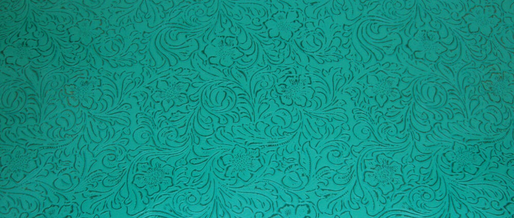 Turquoise Western Floral Heavy Duty Upholstery Vinyl 54