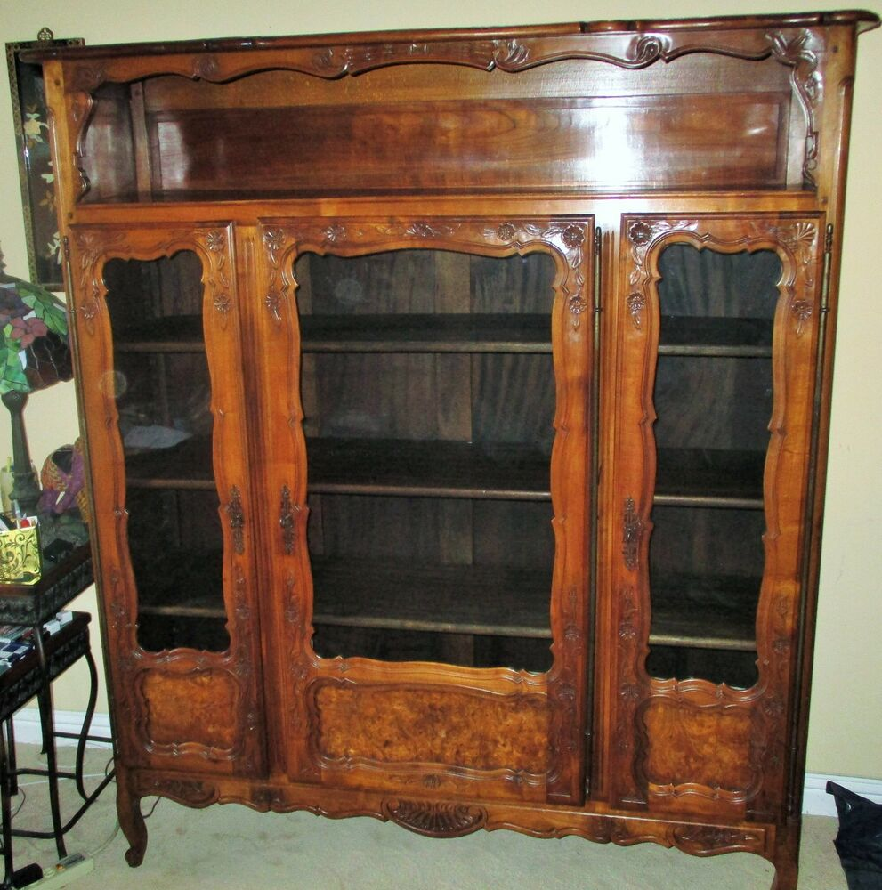 french provincial cabinet antique provincial key cupboard glass curio cabinet 1105
