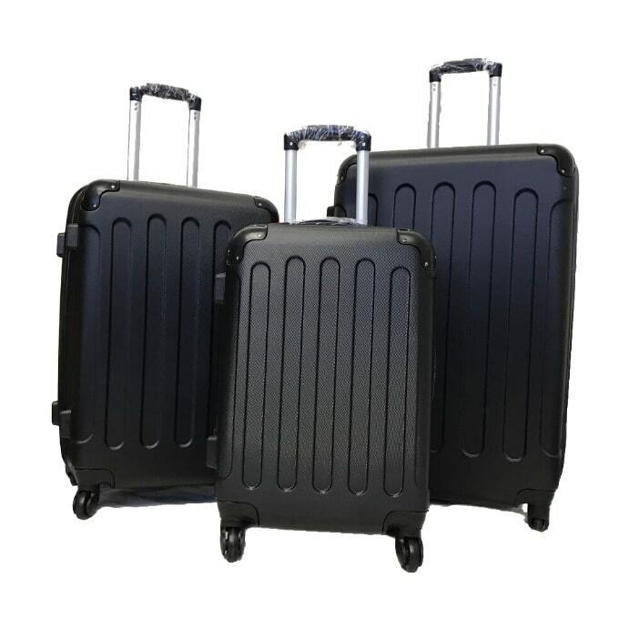 Black Hard Shell 4 Wheel Spinner Suitcase Luggage Case Trolley Cabin