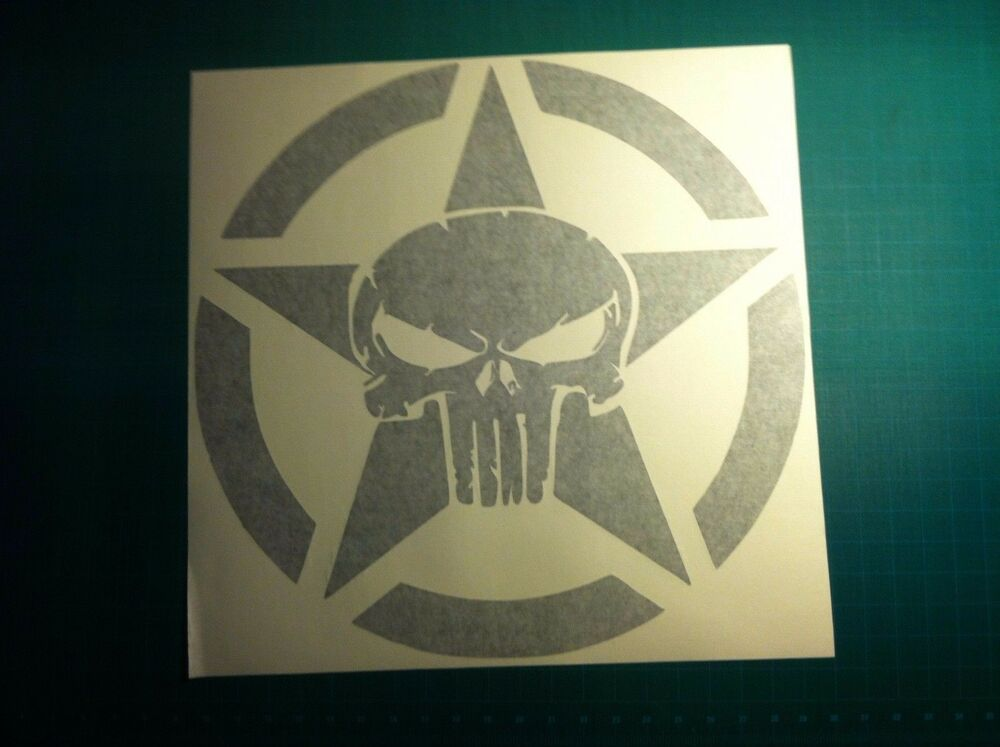 Skull Army Star Decal Fits Jeep Large 20 Quot Vinyl Military