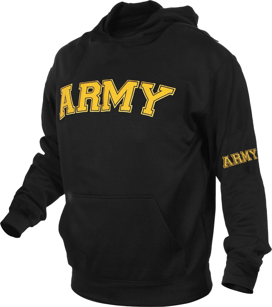 Black Embroidered Us Army Pullover Hooded Sweatshirt Ebay