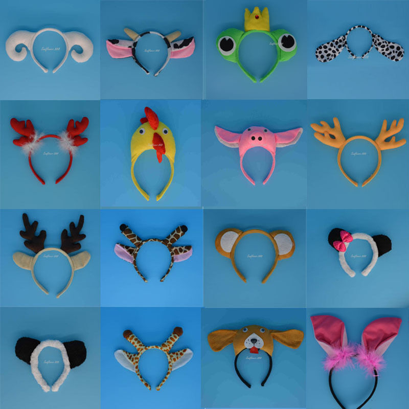 10pcs Halloween Party Dog Monkey Frog Pig Sheep Animal Ear Headband ...