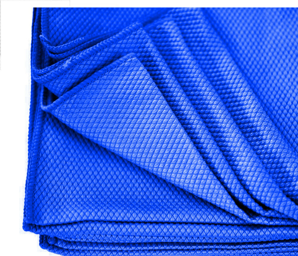Bulk Microfiber Detailing Towels: 24 BLUE DIAMOND WAFFLE WEAVE MICROFIBER GLASS CLEANING