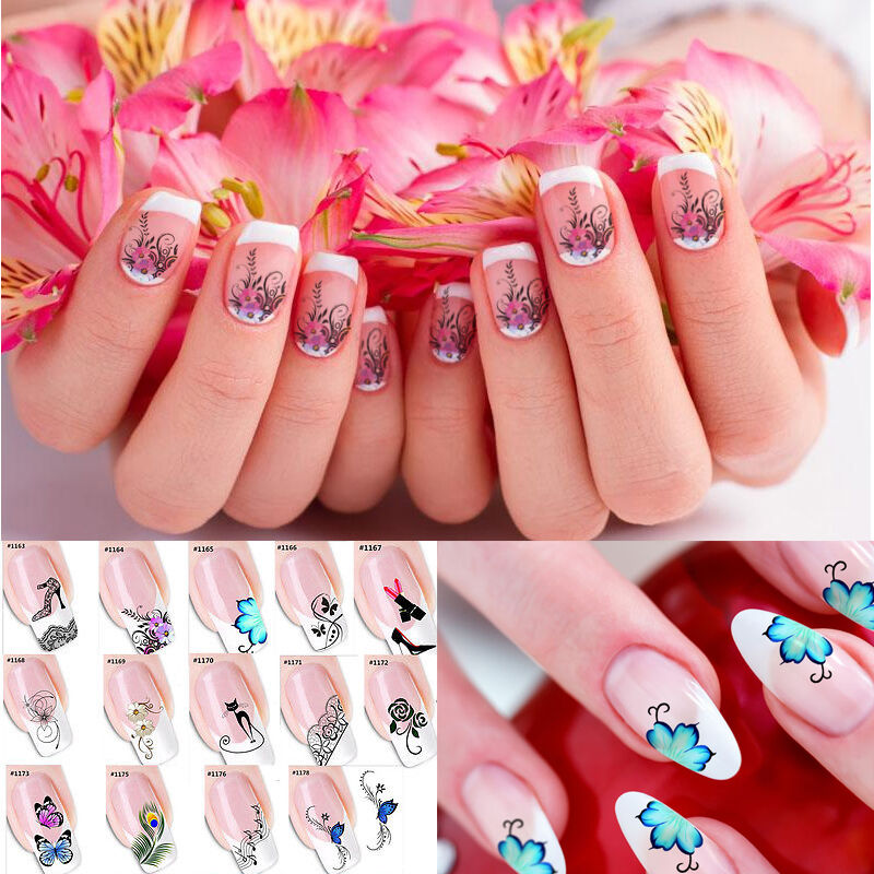 Nail art sticker water transfer stickers flower decals for 3d nail decoration