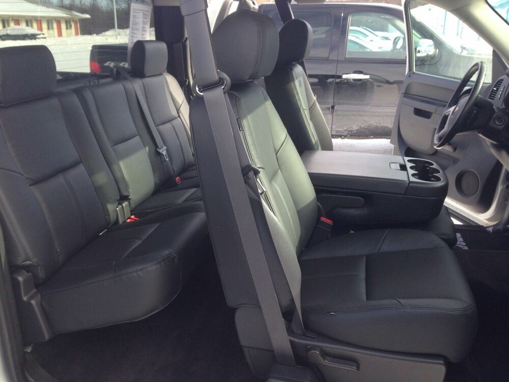 2012 2013 Chevrolet Silverado Ext Cab Black Katzkin Leather Interior Seat Cover Ebay