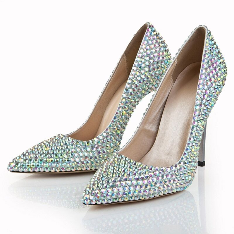 jeweled wedding shoes women rhinestone pointed toe high heels stilettos pumps 5258