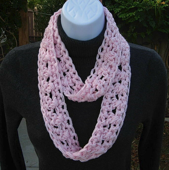 Summer Scarf Infinity Loop Solid Light Pink Small Narrow