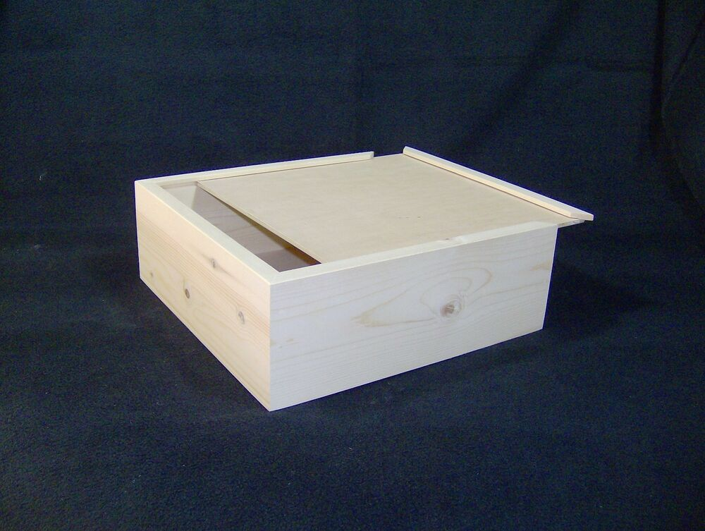 11 x 11 x 5 custom sliding lid wood craft box for Unfinished wooden boxes for crafts