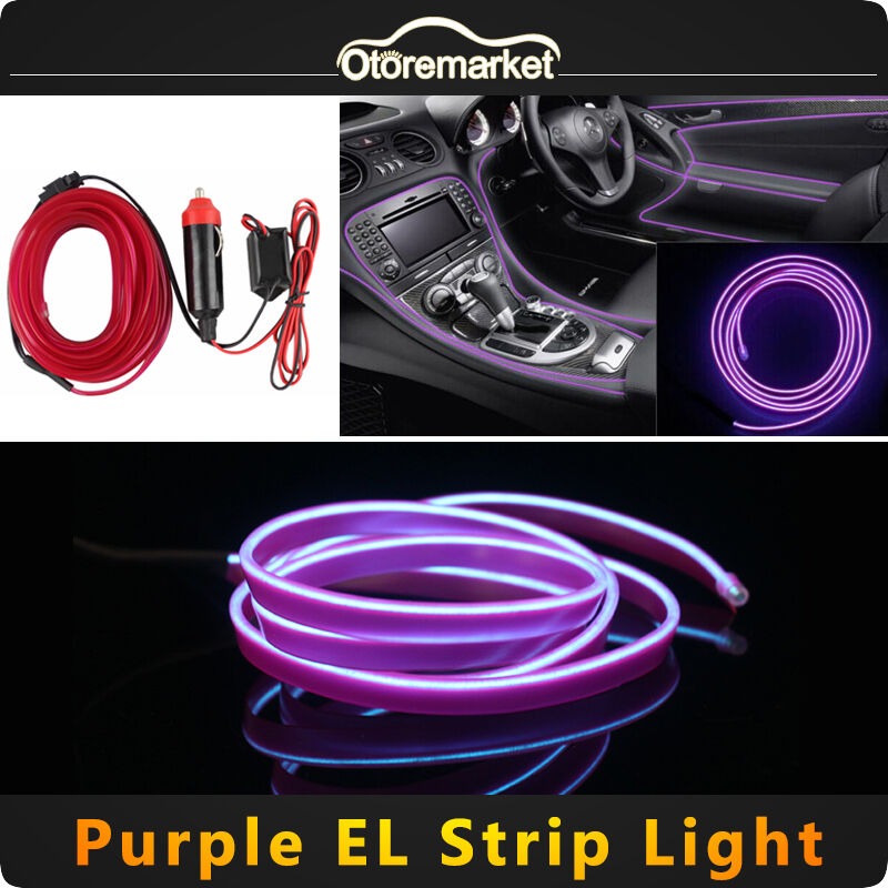 purple led el wire 12v car interior lamp decor neon strip cold light panel ebay. Black Bedroom Furniture Sets. Home Design Ideas