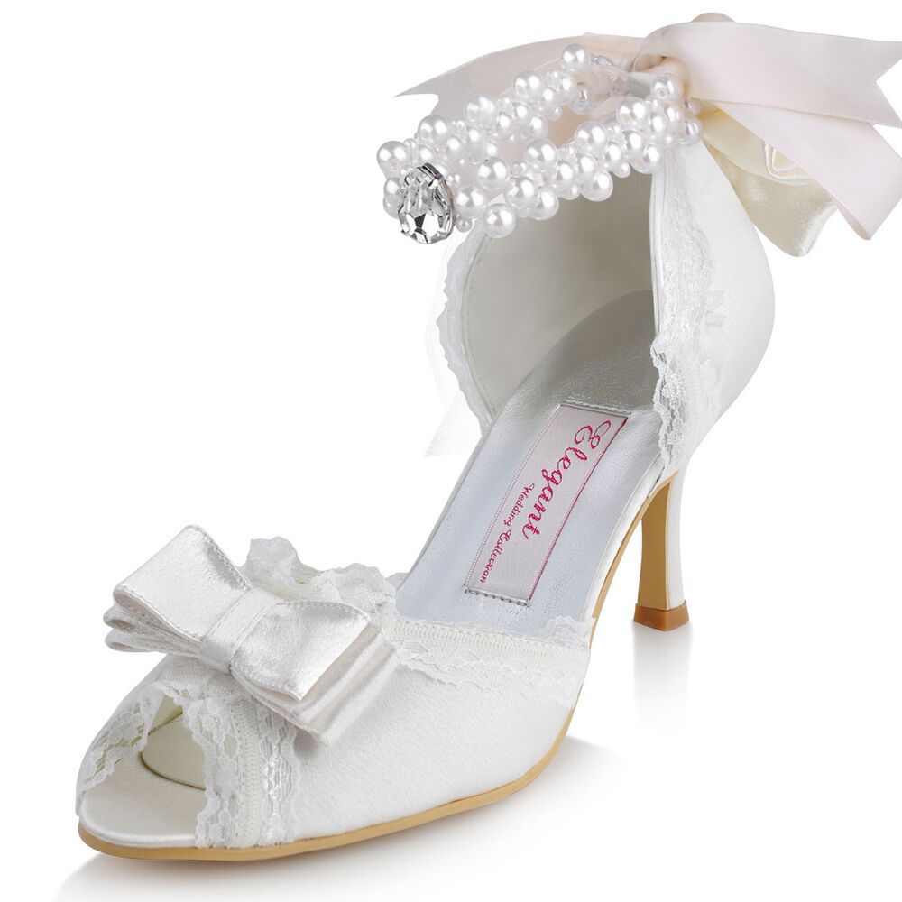 A3202 Peep Toe High Heels Lace Trim Ribbon Bow Pearls