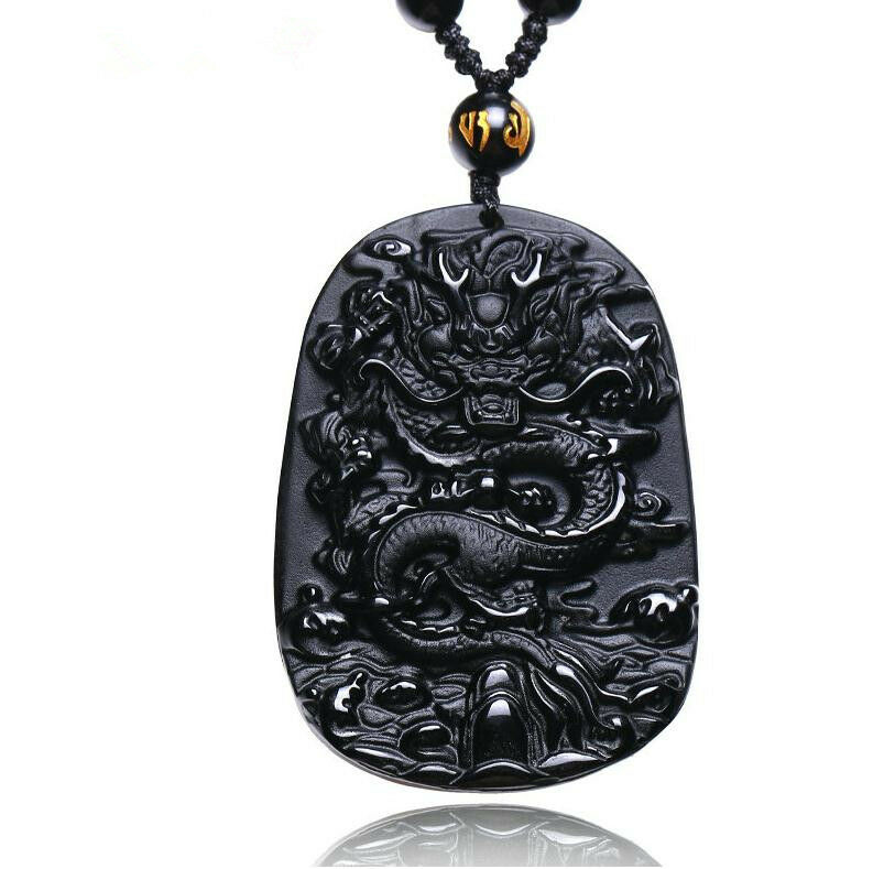 Natural Obsidian Hand Carved Chinese Dragon Good Luck