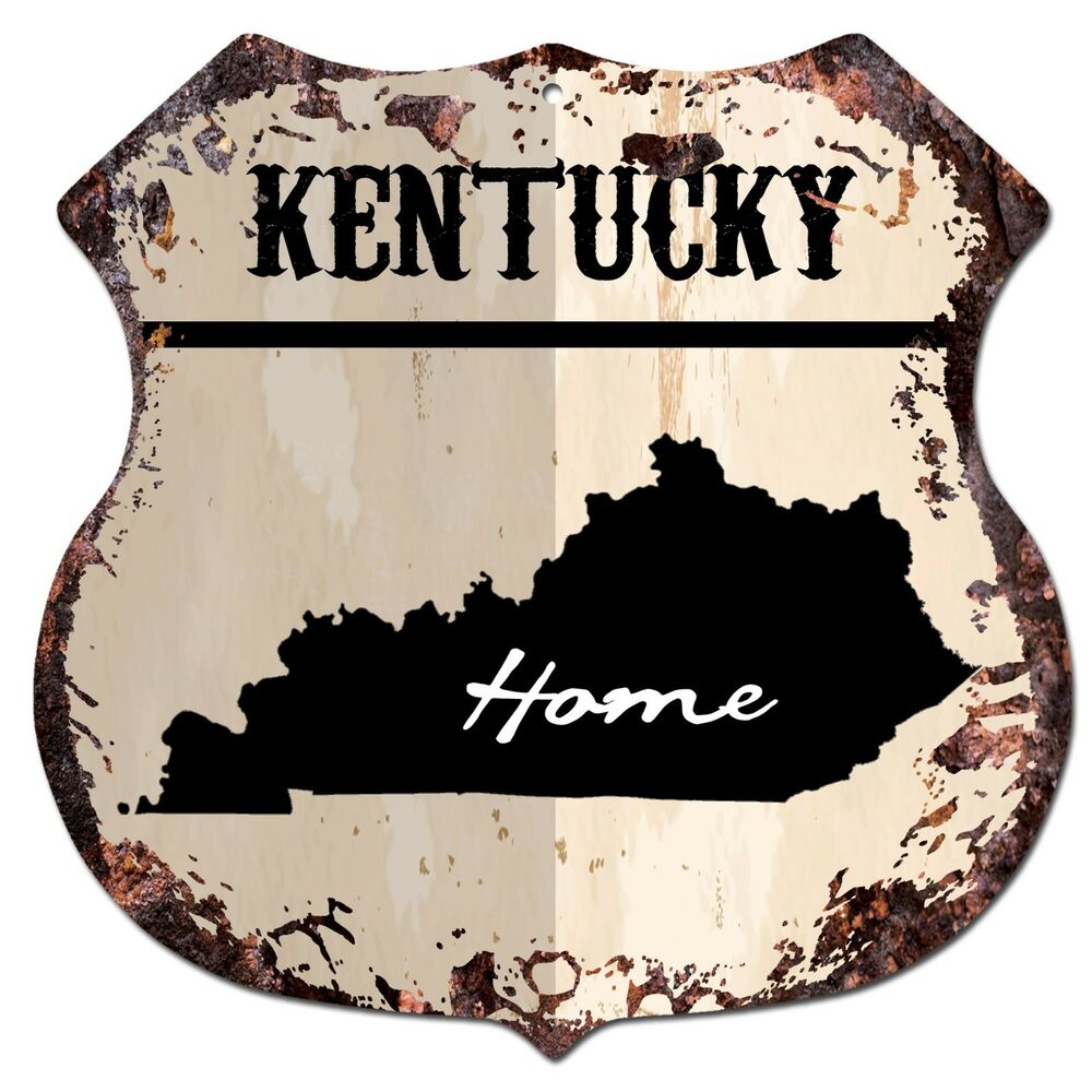 Home Design Gift Ideas: BP0133 HOME KENTUCKY MAP Shield Rustic Chic Sign Bar Shop