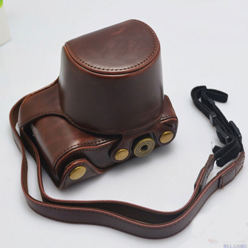 New Leather Cover Case Bag For Sony A6000 Camera With Shoulder Strap Brown Ebay