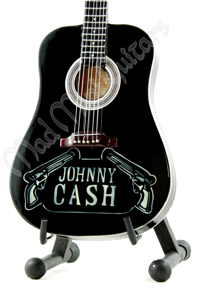 miniature guitar johnny cash with free stand man in black acoustic guns ebay. Black Bedroom Furniture Sets. Home Design Ideas
