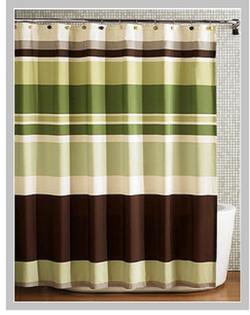 Green Stripes Fabric Shower Curtain Ebay