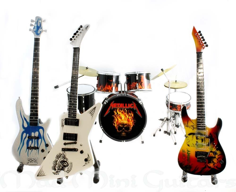 metallica full band mini guitar drum kit set ebay. Black Bedroom Furniture Sets. Home Design Ideas