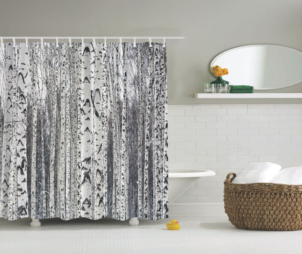Photo Of Birch Trees Tree Forest Fabric Shower Curtain