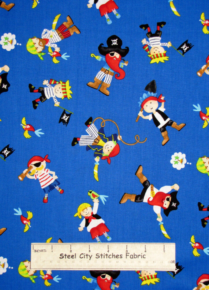 Timeless treasures pirate kids jolly roger swashbuckle for Kids fabric by the yard