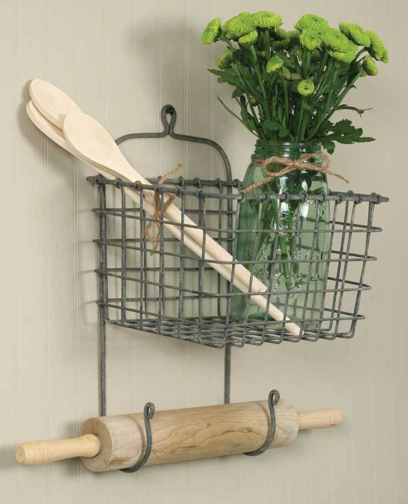 New wire country vintage hanging wall basket storage Decorative home
