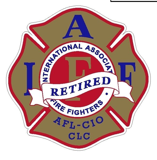 """4"""" IAFF Decal Exterior Mount Gold Red and Blue Retired"""