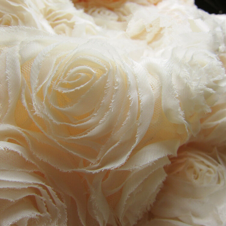3d chiffon rosette bridal lace fabric ivory 51 wide for for Bridal fabric