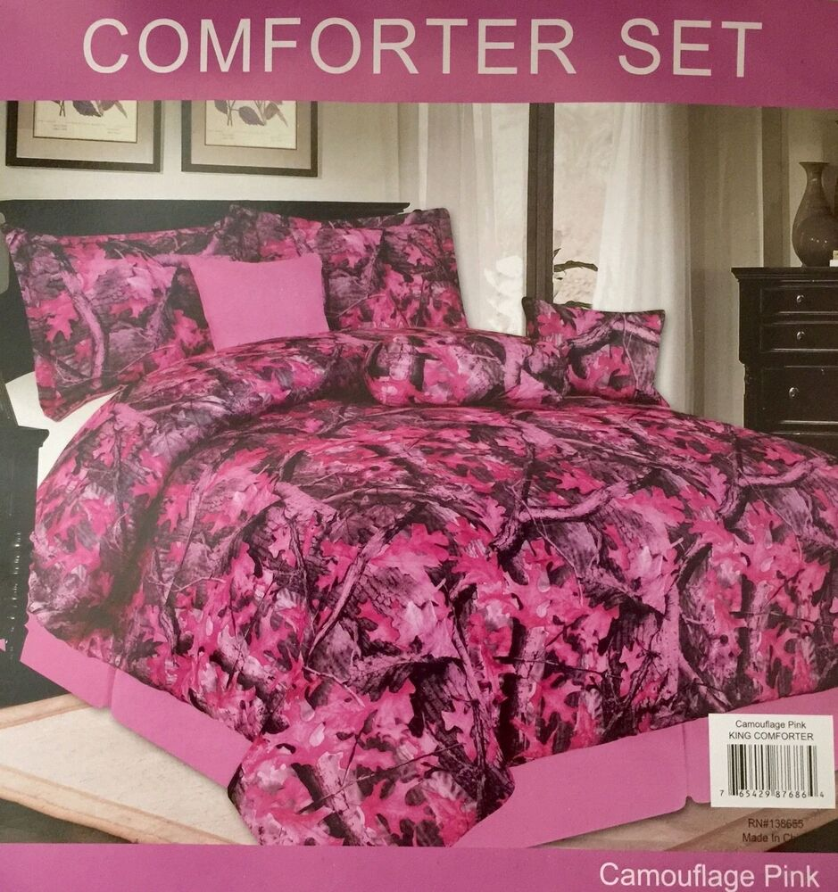 Camouflage Luxory Comforter 7 Piece Set Pink Full