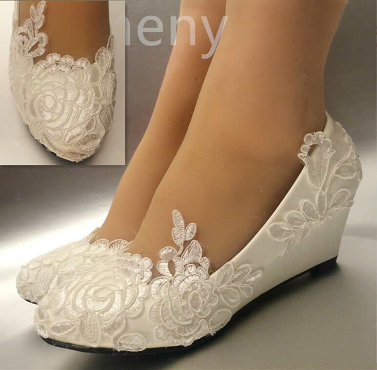 White Light Ivory Lace Wedding Shoes Flat Low High Heel Wedges Bridal Size 5 12