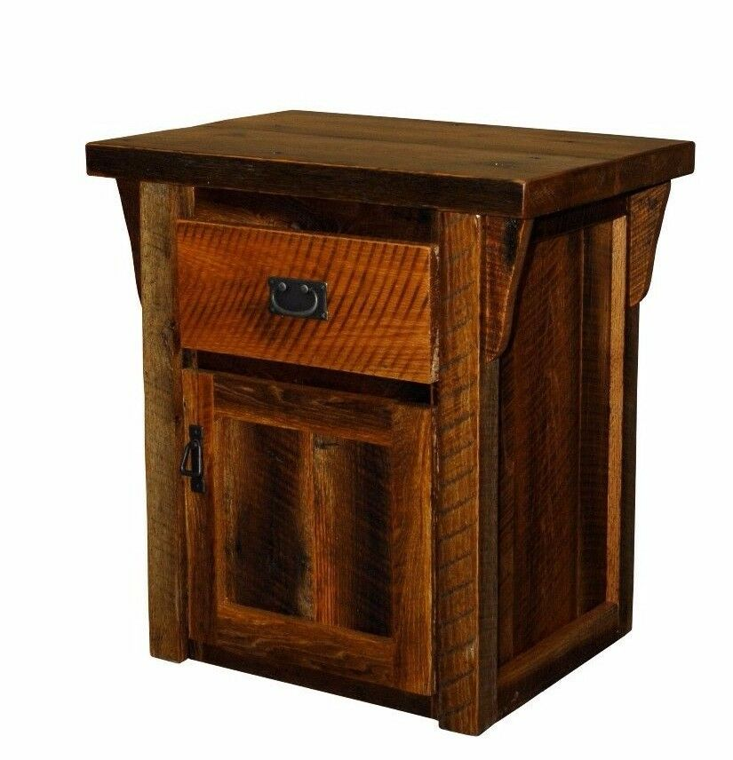 Rustic barn wood 1 drawer 1 door end table night stand Furniture made from barn wood