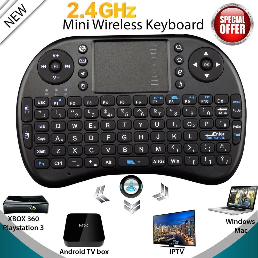 mini wireless keyboard 2 4g with touchpad handheld keyboard for pc android tv qt ebay. Black Bedroom Furniture Sets. Home Design Ideas